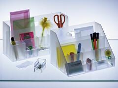 Schreibtisch Organizer Höhe 18 cm, Breite 34,4 cm, Tiefe 13,2 cm | transparent-weiß