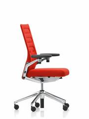 Bürodrehstuhl AC 4 mit 3D Armlehnen, Gestell: Alu poliert   Stoff, rot