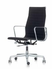 Bürodrehsessel Alu-Chair hohe Rückenlehne Stoff   schwarz, Gestell: Aluminium, verchromt