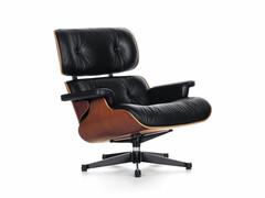 Lounge Chair Höhe 84 cm (Originalhöhe von 1956)   Kirschbaum, Bezug Leder schwarz