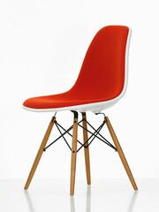 Eames Plastic Sidechair DSW 46,5   Sitzschale weiss, Vollpolster orange