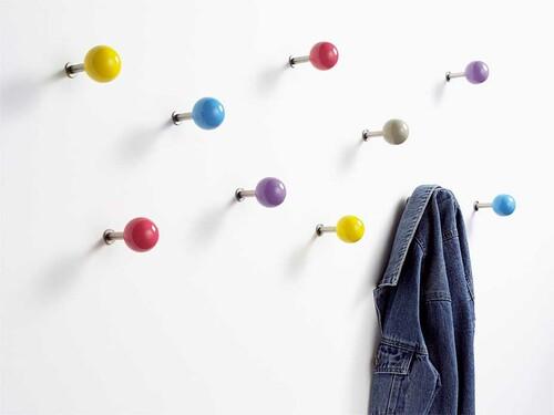 Wandhaken Dots 5er-Set, bunt (rot, gelb, blau, lila, grau)