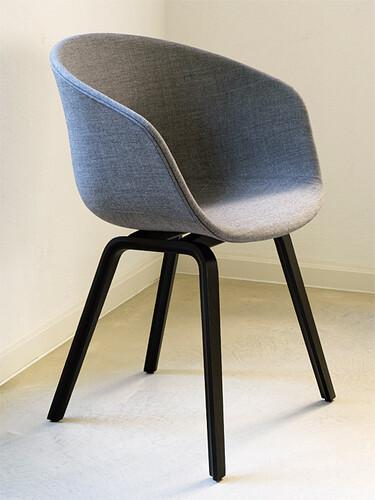 Stuhl About A chair AAC23 Eiche, schwarz/gepolsterte Sitzschale, grau meliert