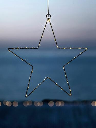 Weihnachtsanhänger Liva Star Ø 30 cm – batteriebetrieben   schwarz