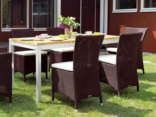 Tisch Quadrat 80 x 160 cm, Aluminium / Teak