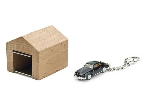 Schlüsselanhänger Porsche 356 A Coupé mit Garage Porsche 356 A, schwarz mit Garage: Buche, natur